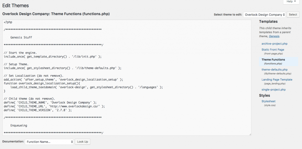 Editing your theme's functions.php