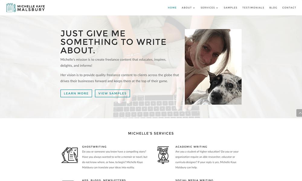 A screenshot of Michelle Malsbury's website.
