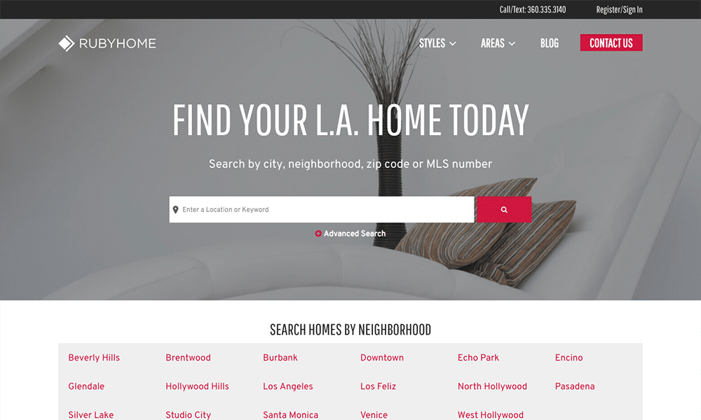 RubyHome is a real estate website focusing on the Los Angeles, CA area.