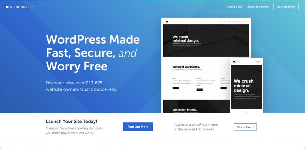 "A screenshot of the StudioPress (Genesis Framework) home page. It promises ""WordPress Made Fast, Secure, and Worry Free""."