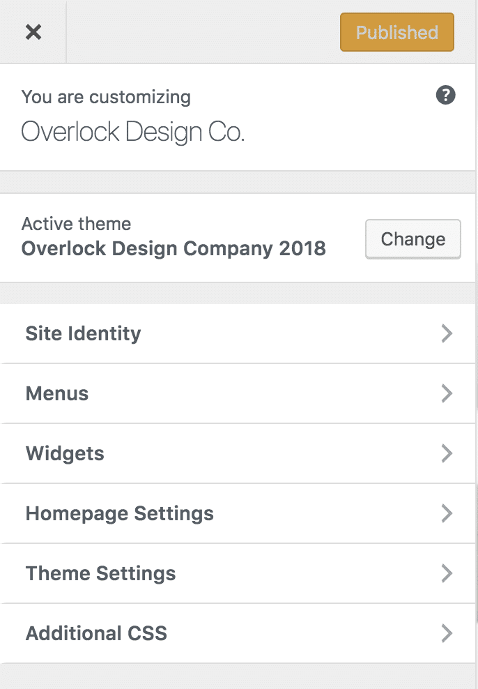 A screenshot of the WordPress Customizer, showing the Theme Settings link.