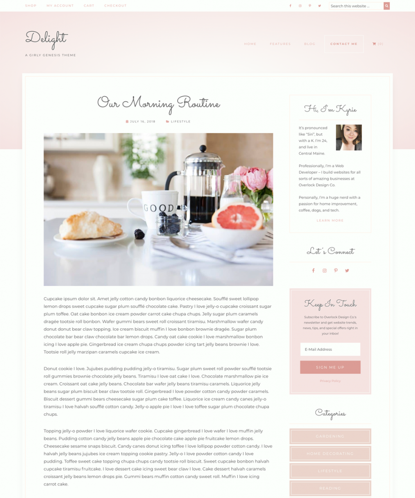 Delight is built to display blog posts beautifully.
