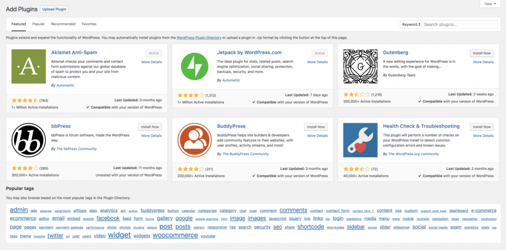 "The ""Add Plugins"" screen on WordPress features some of the more popular plugins, like Akismet and JetPack."